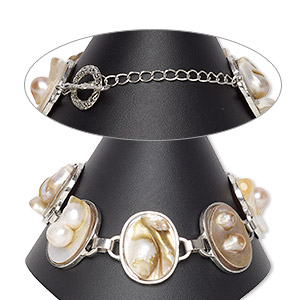 bracelet, blister pearl shell (natural) and silver-plated pewter (zinc-based alloy), 25x20mm-27x21mm oval, 8 inches with textured toggle clasp. sold individually.