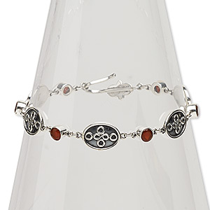 bracelet, carnelian (dyed / heated) and sterling silver, 11mm wide, 7 inches with hook-and-eye clasp. sold individually.