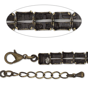 bracelet component, antique brass-finished brass and steel, 6mm wide cupchain with (30) ss29 rivoli settings, 8 inches with 1-inch extender chain and lobster claw clasp. sold individually.