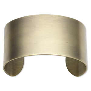 bracelet component, cuff, antique gold-plated steel, 1-1/2 inches wide, 7-1/2 inches. sold individually.