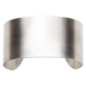 bracelet component, cuff, antique silver-plated steel, 1-1/2 inch wide, 7-1/2 inches. sold individually.
