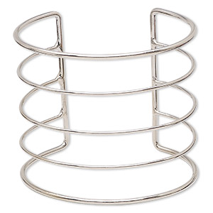 bracelet component, cuff, imitation rhodium-plated steel, 68x60mm wide with 5 bars, 7 to 7-1/2 inches. sold individually.