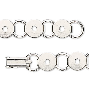 bracelet component, silver-plated steel, (12) 9.5mm round link settings, 7 inches with fold-over clasp. sold per pkg of 2.