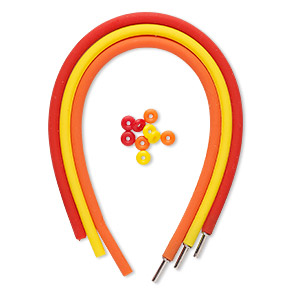 bracelet cord, silicone and stainless steel, red / orange / yellow, 4mm round, 7-1/2 inches with pop-style clasp. sold per pkg of 3.