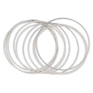 bracelet cord, steel, silver, 1.3mm coil, 8 inches with twist-in ends. sold per pkg of 10.