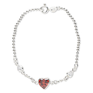 bracelet, cubic zirconia and sterling silver, garnet red and clear, 5mm and 8mm faceted heart, 7 inches with springring clasp. sold individually.