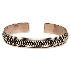 bracelet, cuff, antiqued copper, 12.5mm wide with loop design, adjustable. sold individually.