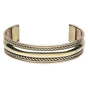 bracelet, cuff, brass / copper / steel, 17mm wide with flat twist design, adjustable from 7-1/2 to 8 inches. sold individually.