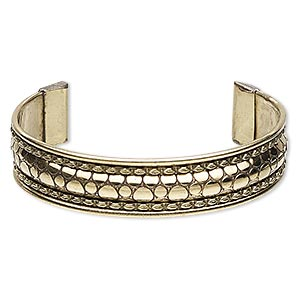 bracelet, cuff, brass and steel, 16mm wide with circle design, adjustable from 7-1/2 to 8 inches. sold individually.