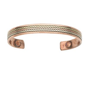bracelet, cuff, copper and antique silver-plated brass, 10mm wide, 7-8 inches with magnetic ends. sold individually.