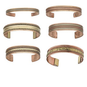 bracelet, cuff, copper and brass, 7.5-16mm wide with assorted patterns, 7-8 inches. sold per pkg of 6.