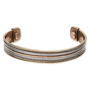 bracelet, cuff, copper and steel, 12mm wide with twist design, adjustable from 7-1/2 to 8 inches with magnetic ends. sold individually.