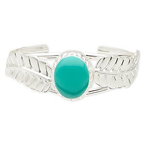 bracelet, cuff, epoxy and silver-plated steel, turquoise green, 22x18mm oval and leaf design, adjustable from 6-1/2 to 7-1/2 inches. sold individually.