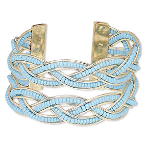 bracelet, cuff, glass and gold-finished steel, turquoise blue, 35mm wide with braided design, adjustable from 6-1/2 to 7-1/2 inches. sold individually.