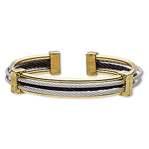 bracelet, cuff, gold-finished / silver- / black-plated stainless steel, 12mm wide cable, adjustable from 7 to 7-1/2 inches. sold individually.