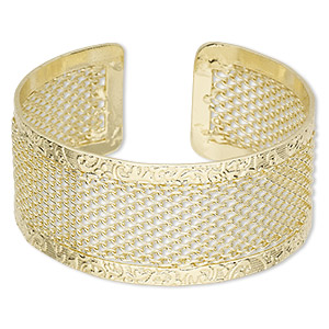 bracelet, cuff, gold-finished steel, 30mm wide with cutout mesh design, adjustable from 7-1/2 to 8 inches. sold individually.