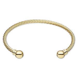 bracelet, cuff, gold-plated brass, 3.5mm twisted wire with 8mm threaded ball end, adjustable from 7-1/2 to 8 inches. sold individually.