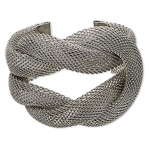 bracelet, cuff, gunmetal-plated steel, 58mm wide with woven square knot design, 6 inches. sold individually.