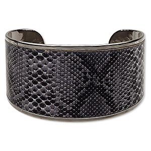 bracelet, cuff, imitation leather and gunmetal-plated steel, black and grey, 42mm wide with snakeskin pattern, 8 inches. sold individually.