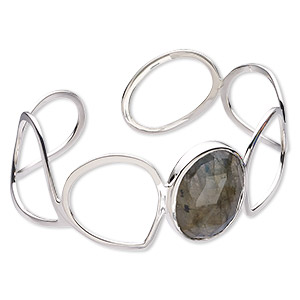 bracelet, cuff, labradorite (natural) and sterling silver, 27mm wide with faceted oval, 7-1/2 inches. sold individually.