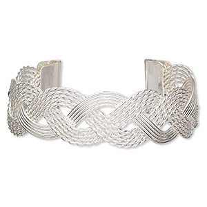 bracelet, cuff, silver-plated steel, 23mm wide with woven design, adjustable from 6-7 inches. sold individually.