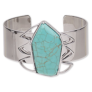bracelet, cuff, turquoise (imitation) and imitation rhodium-plated steel, blue, 41mm wide with 41x41mm pentagon, adjustable from 6-1/2 to 7 inches. sold individually.
