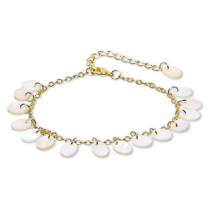 bracelet, freshwater pearl shell (natural / bleached) with gold-finished steel and pewter (zinc-based alloy), white, 10x8mm oval, 7-1/2 inches with 2-1/4 inch extender chain and lobster claw clasp. sold individually.