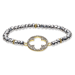 bracelet, glass / glass rhinestone / gold-finished pewter (zinc-based alloy), black hematite and clear, 4x3mm faceted rondelle and 18mm round with cutout clover, 6 inches. sold individually.