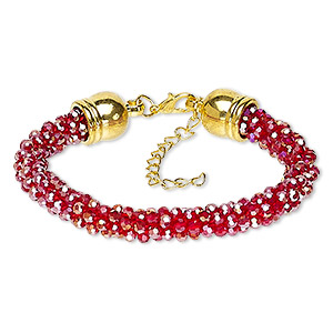 bracelet, glass / gold-coated plastic / gold-finished steel / pewter (zinc-based alloy), red ab, 7.5mm wide, 7 inches with 2-inch extender chain and lobster claw clasp. sold individually.
