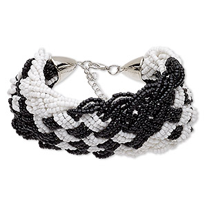 bracelet, glass / silver-coated plastic / silver-finished steel / pewter (zinc-based alloy), black and white, 50mm wide with woven design, 6-1/2 inches with 2-inch extender chain and lobster claw clasp. sold individually.