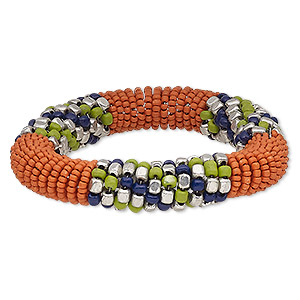 bracelet, glass / steel memory wire / silver-plated steel, orange / blue / green, 15mm wide, 7-inch adjustable. sold individually.