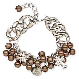 bracelet, glass pearl / silver-coated plastic / silver-plated steel, brown, 22mm wide with assorted shape, 6-1/2 inches with 1-1/2 inch extender chain and lobster claw clasp. sold individually.
