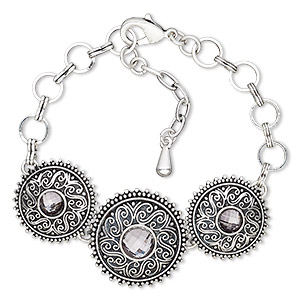 bracelet, glass rhinestone / antique silver-plated brass / steel / pewter (zinc-based alloy), grey, 25mm wide with round, 6-1/2 inches with 1-inch extender chain and lobster claw clasp. sold individually.