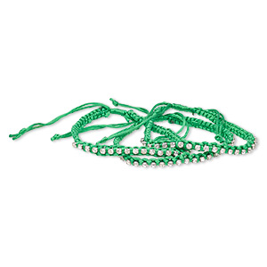 bracelet, glass rhinestone / nylon / silver-plated brass, green and clear, 6mm wide with cupchain, adjustable 7-1/2 to 9-1/2 inches with wrapped knot closure. sold per pkg of 3.