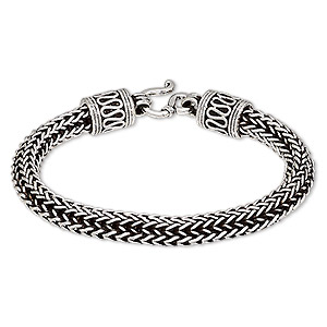 bracelet, hill tribes, antique silver-plated brass, 7mm wide, 6 inches with hook-and-eye clasp. sold individually.