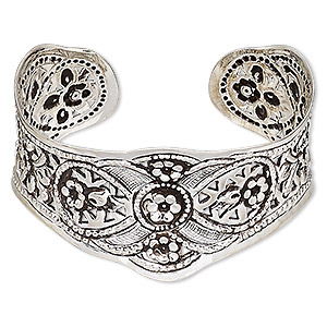 bracelet, hill tribes, cuff, antique silver-plated brass, 32mm wide with flower design, adjustable. sold individually.