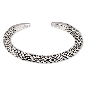 bracelet, hill tribes, cuff, antique silver-plated brass, 7mm wide with textured design, adjustable. sold individually.