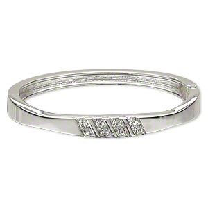bracelet, hinged bangle, czech crystal rhinestone and silver-plated pewter (zinc-based alloy), clear, 8mm wide with stripe design, 6-1/2 inches. sold individually.