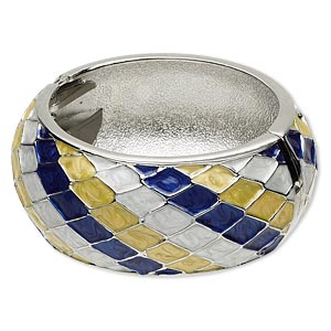 bracelet, hinged bangle, epoxy and rhodium-finished pewter (zinc-based alloy), white / yellow / blue, 32mm wide with diagonal diamond design, 7 inches. sold individually.