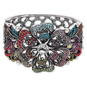 bracelet, hinged bangle, glass rhinestone with antique silver-finished steel and pewter (zinc-based alloy), 49.5mm wide with flower and leaf design, 6 inches. sold individually.