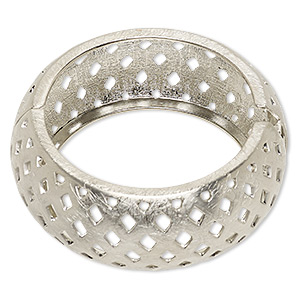 bracelet, hinged bangle, imitation rhodium-plated steel and pewter (zinc-based alloy), 29.5mm wide brushed with basket weave cutout design, 7-1/2 inches. sold individually.
