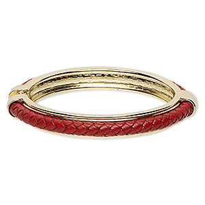 bracelet, hinged bangle, leather (dyed) with gold-finished steel and pewter (zinc-based alloy), red, 10mm wide with braided design, 7 inches. sold individually.