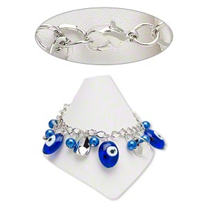 bracelet, lampworked glass / imitation rhodium-coated plastic / imitation rhodium-plated steel, blue and white, 8mm round / 17x12.5mm leaf / 19x16mm-22x16mm oval, 7 inches with 2-inch extender chain and lobster claw clasp. sold individually.