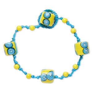 bracelet, lampworked glass and waxed cotton cord, turquoise blue / white / yellow, 6mm round and 14mm barrel with circle design, 8-1/2 inches with button clasp. sold individually.