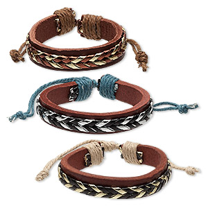 bracelet, leather (dyed) / cotton / polyurethane, metallic multicolored, 12-13mm wide, adjustable from 6 to 8-1/2 inches with knot closure. sold per pkg of 3.