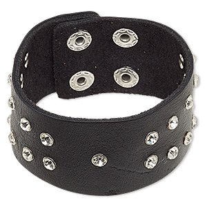 bracelet, leather (dyed) / glass rhinestone / imitation rhodium-finished steel, black and clear, 33mm wide with rivets, adjustable at 7-1/2 and 8 inches with double snap closure. sold individually.