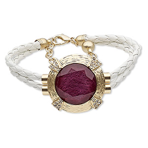 bracelet, leather (dyed) / glass rhinestone / nylon / gold-finished steel / pewter (zinc-based alloy), white / purple / clear, 40mm matte round, 7-1/2 inches with 2-inch extender chain and lobster claw clasp. sold individually.