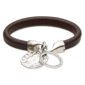 bracelet, leather (dyed) / swarovski crystals / antique silver-finished pewter (zinc-based alloy), brown and clear, 10mm wide with 21mm round donut and 24mm round with coin design, 7 inches with hook-and-eye clasp. sold individually.