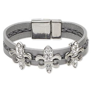 bracelet, leather (dyed) / swarovski crystals / imitation rhodium-plated pewter (zinc-based alloy), grey and crystal clear, 14mm wide with 23x20mm fleur-de-lis, 6 inches with magnetic clasp. sold individually.
