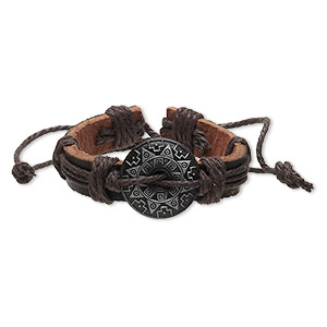 bracelet, leather (dyed) / waxed cotton cord / antiqued pewter (zinc-based alloy), brown and black, 12mm wide with 25mm round donut with southwest design, adjustable from 5-1/2 to 8 inches with knot closure. sold per pkg of 2.